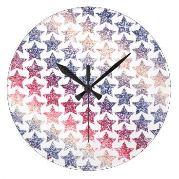 USA Themed USA Patriotic Faux Glitter Stars Large Clock