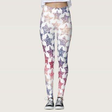USA Themed USA Patriotic Faux Glitter Stars Leggings
