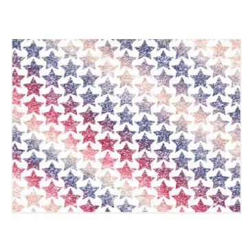USA Themed USA Patriotic Faux Glitter Stars Postcard
