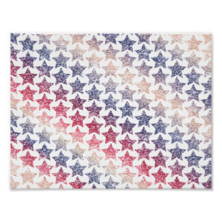 USA Patriotic Faux Glitter Stars Poster