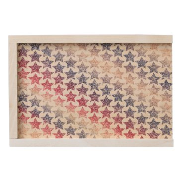 USA Themed USA Patriotic Faux Glitter Stars Wooden Keepsake Box