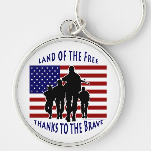 USA Patriotic Flag and Soldiers Silhouette Silver-Colored Round Keychain
