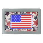 USA Patriotic Flag Primitive Stars Colorful Design Rectangular Belt Buckles