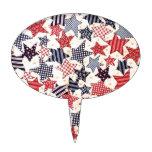 USA Patriotic Flag Primitive Stars Colorful Design Cake Pick