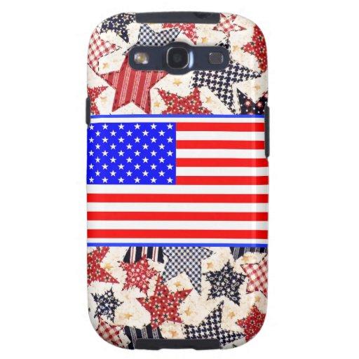 USA Patriotic Flag Primitive Stars Colorful Design Samsung Galaxy S3 Case