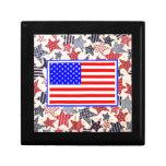 USA Patriotic Flag Primitive Stars Colorful Design Trinket Box