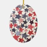 USA Patriotic Flag Primitive Stars Colorful Design Christmas Ornaments