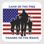 USA Patriotic Flag Soldiers Silhouette Stickers