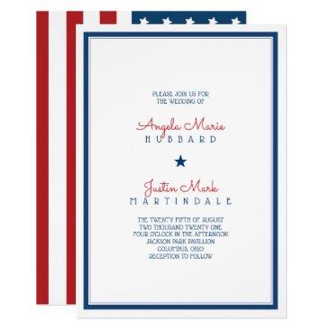 USA Patriotic Flag Wedding 3 Invitation