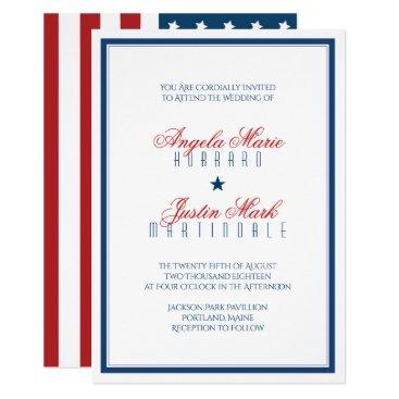 USA Themed USA Patriotic Flag Wedding Card