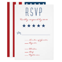 USA Patriotic Flag Wedding RSVP 2 Card