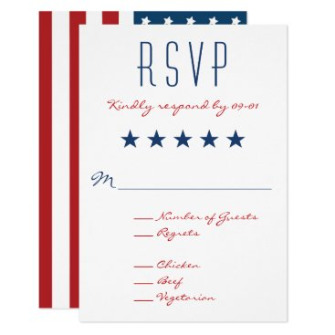 Charmalot USA Patriotic Flag Wedding RSVP 2 Card