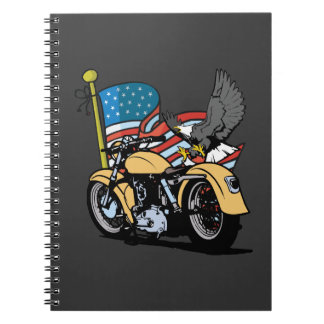 USA Patriotic Flag With Eagle Motorcycle Notebook Spiral Notebook