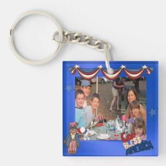 USA Patriotic Frame Custom Photo God Bless America Keychain