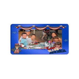 USA Patriotic Frame Custom Photo God Bless America Label