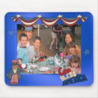 USA Patriotic Frame Custom Photo God Bless America Mousepad