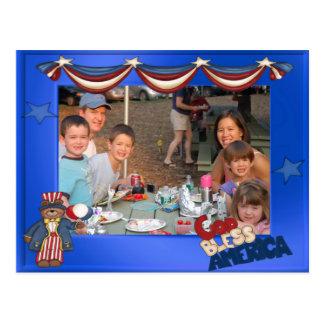 USA Patriotic Frame Custom Photo God Bless America Postcard