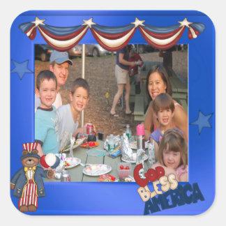 USA Patriotic Frame Custom Photo God Bless America Square Sticker