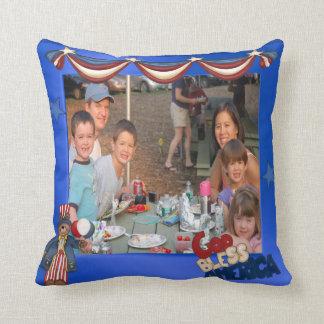 USA Patriotic Frame Custom Photo God Bless America Throw Pillow