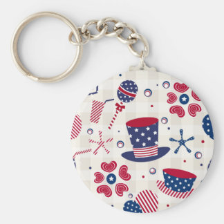 USA Patriotic Hats and Hearts Keychain