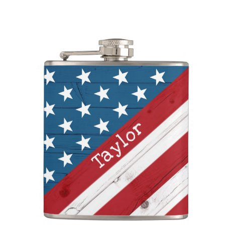 USA Patriotic July 4th Rustic Wood American Flag Flask
