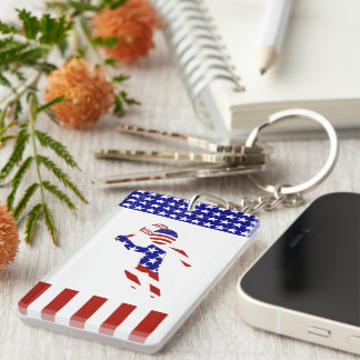 USA Patriotic Men's Tennis Player Keychain