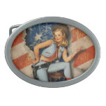 USA Patriotic Naughty PinUp CowGirl Belt Buckle