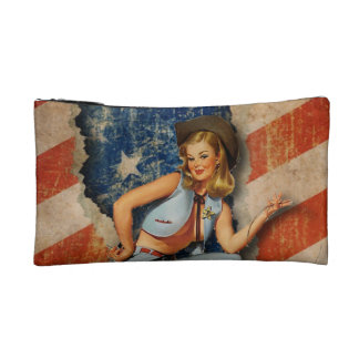 USA Patriotic Naughty PinUp CowGirl cosmetic bag