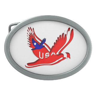USA patriotic Oval Belt Buckle