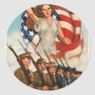 USA Patriotic Poster Classic Round Sticker