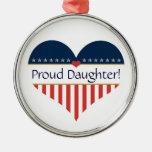 USA Patriotic Proud Daughter Round Silver Ornament