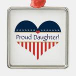 USA Patriotic Proud Daughter Silver Ornament