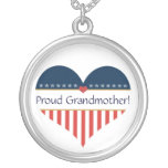 USA Patriotic Proud Grandmother Silver Necklace