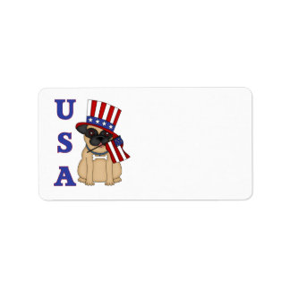USA Patriotic Pug with Flag Personalized Address Label