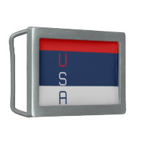 USA Patriotic Red White Belt Buckle