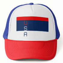 USA Patriotic Red White & Blue Striped Trucker Hat