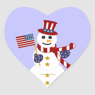 USA Patriotic Snowman with Flag Heart Stickers