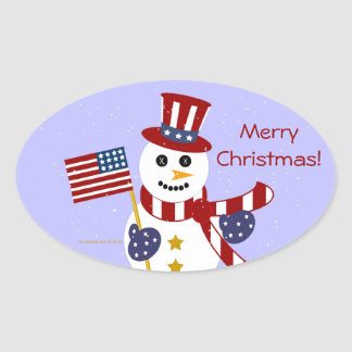 USA Patriotic Snowman with Flag Oval Stickers