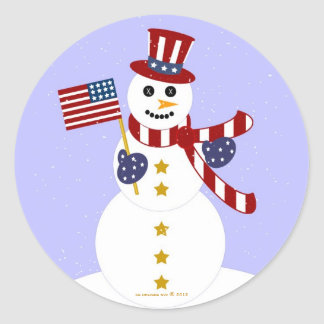 USA Patriotic Snowman with Flag Round Stickers