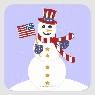 USA Patriotic Snowman with Flag Square Stickers