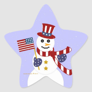 USA Patriotic Snowman with Flag Star Stickers