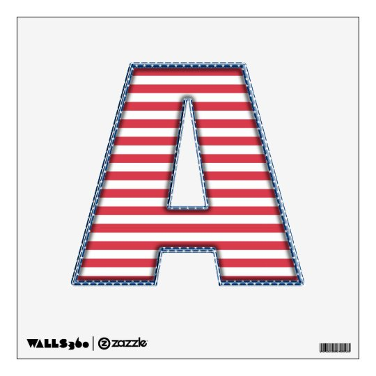 USA Patriotic Stars and Stripes - Letter A Wall Decal