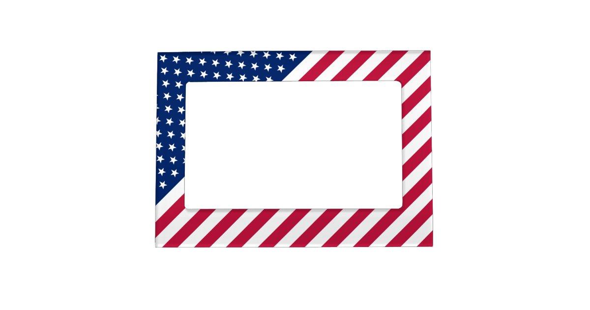 USA Patriotic Stars Stripes Magnetic Photo Frame | Zazzle.com
