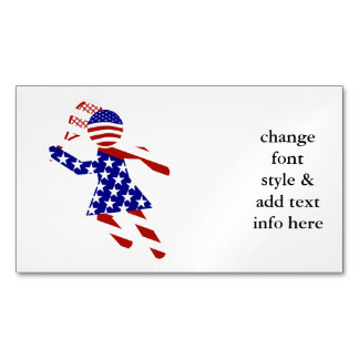 USA Patriotic Women's Tennis Player Magnetic Business Cards (Pack Of 25)