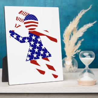 USA Patriotic Womens Tennis Player Plaque
