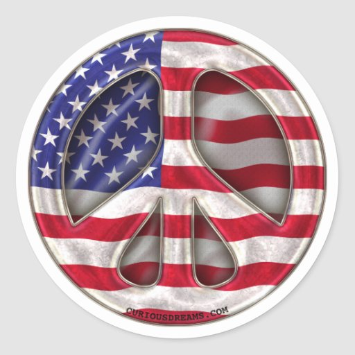 USA Peace Flag Classic Round Sticker