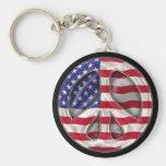 USA Peace Flag Key Chains