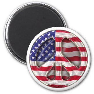 USA Peace Flag 2 Inch Round Magnet