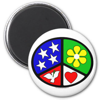 USA Peace Love Ecology 2 Inch Round Magnet