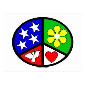 USA Peace Love Ecology Postcard